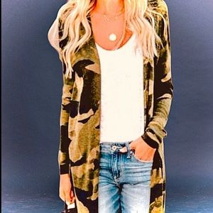 New Camouflage Longline Open Cardigan in neutrals